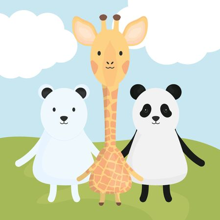 cute group animals childish characters vector illustration design Foto de archivo - 128677083