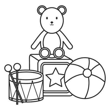 plastic balloon with teddy and toys vector illustration design