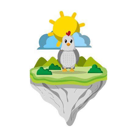 female hen animal in float island Ilustração
