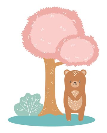 Bear cartoon design, Animal cute zoo life nature and fauna theme Vector illustration
