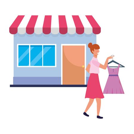 Woman shopping design, Commerce market store retail paying and buying theme Vector illustration