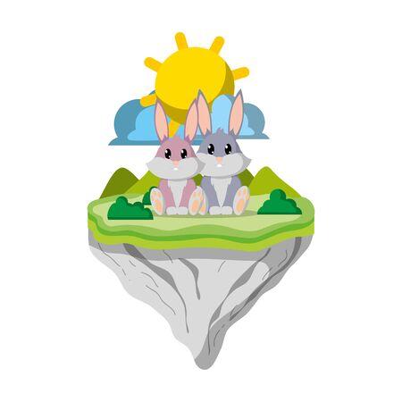 couple rabbit animal in float island vector illustration Ilustração