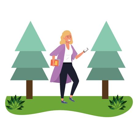 Millennial student blonde woman holding book outdoors texting using smartphone grass and trees nature background vector illustration graphic design