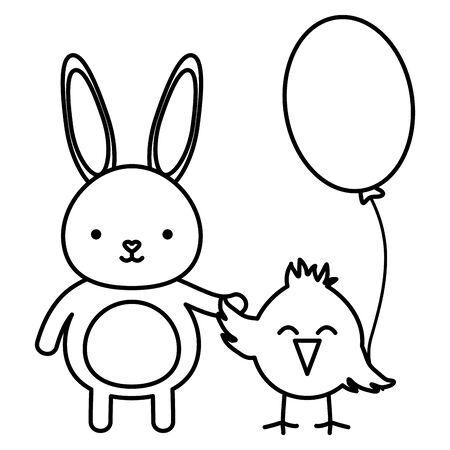 little chick and rabbit easter characters vector illustration design Ilustracja
