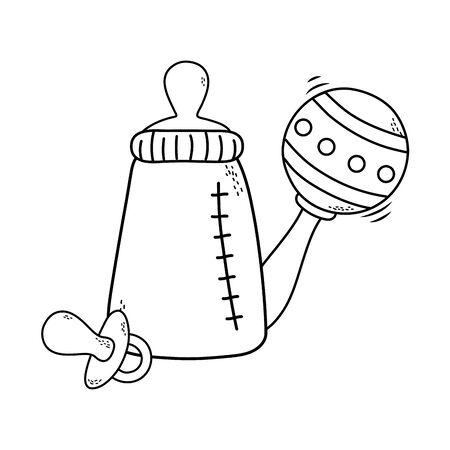 cute baby shower elements cartoon vector illustration graphic design Ilustracja