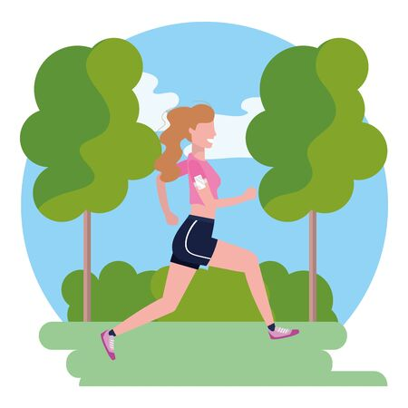 woman running with sportswear avatar cartoon character park landscape vector illustration graphic design 向量圖像