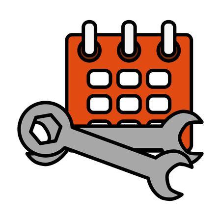 calendar reminder with wrench keys Ilustracja