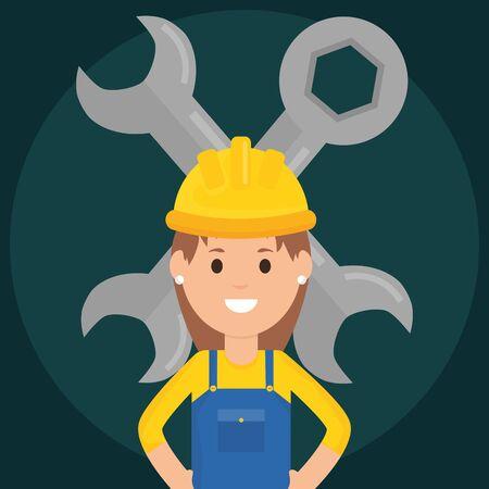 female builder worker with helmet and wrench keys vector illustration design