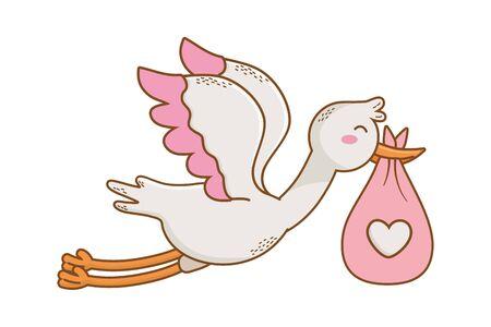 cute baby shower stork holding baby bag cartoon vector illustration graphic design