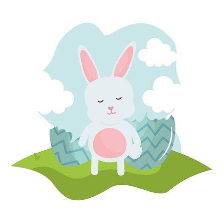 cute rabbit in the landscape character vector illustration design Ilustracja