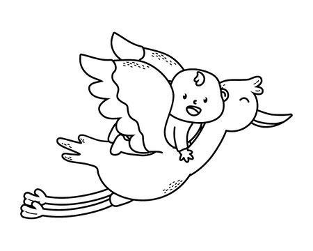 cute baby shower baby over stork cartoon vector illustration graphic design