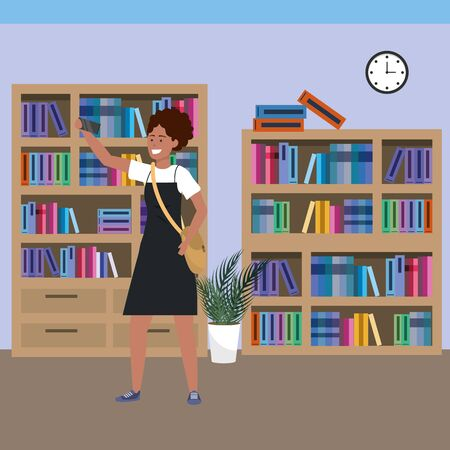 Millennial student afro woman wearing dress using smartphone taing selfie on library background colorful bookstand vector illustration graphic design