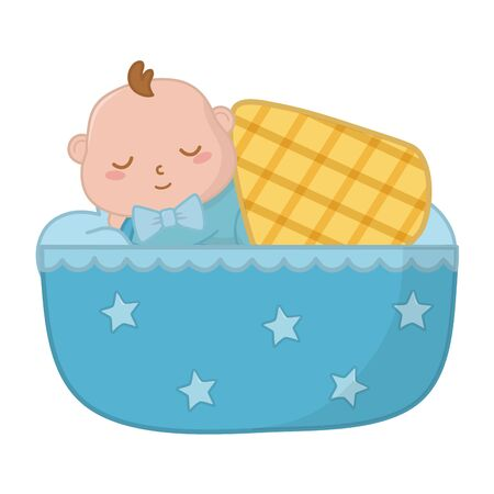 Bébé dort dans un berceau avec une couverture vector illustration graphic design