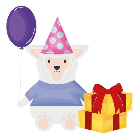 lamb with gift box and balloon helium in birthday party vector illustration design