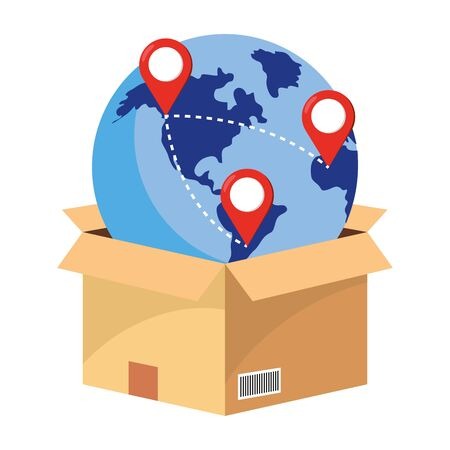box with globe and location pointer vector illustration graphic design Ilustrace