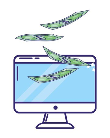 saving money finance concept with technology device and bank elements cartoon vector illustration graphic design Ilustrace