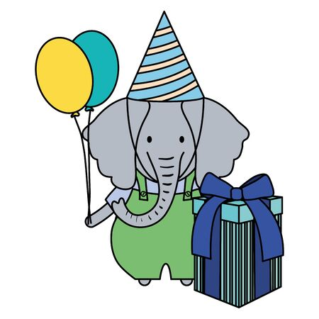 elephant with gift box and balloons helium in birthday party vector illustration