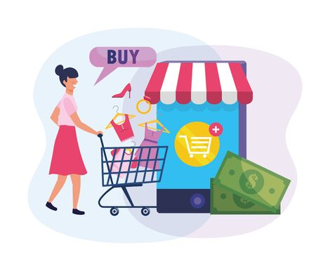 woman with shopping cart and buy with smartphone technology vector illustration