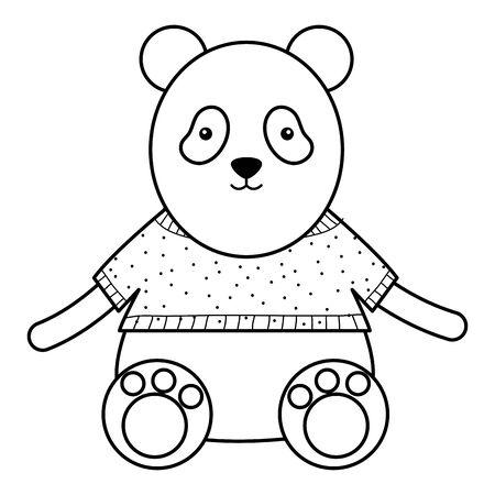 cute bear panda childish character vector illustration design