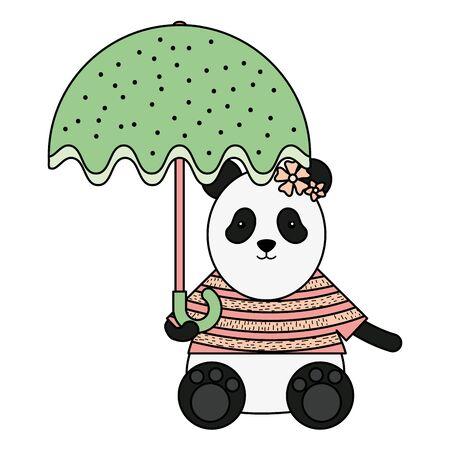 cute female bear panda with umbrella vector illustration design