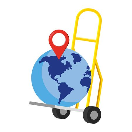 pushcart with a globe and a location pointer vector illustration graphic design