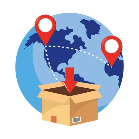box with globe and location pointer with download arrow vector illustration graphic design