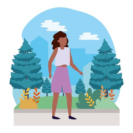 young woman nature outdoor scene cartoon vector illustration graphic design Ilustrace