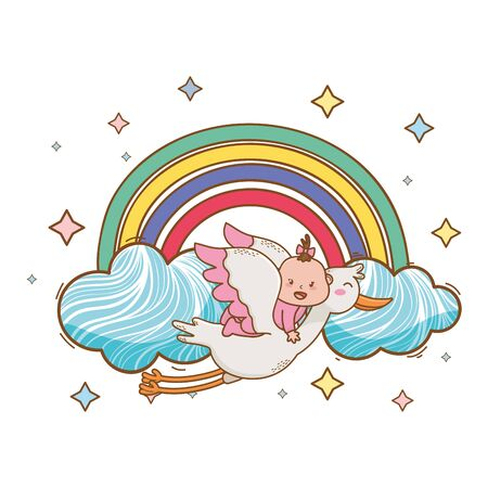 baby shower stork flying with baby on rainbow, clouds and stars cartoon card isolated vector illustration graphic design