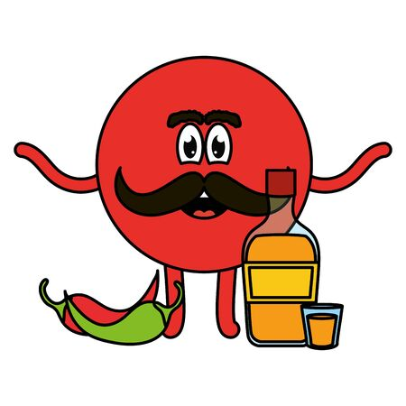 mexican emoji character with tequila and chilli pepper vector illustration design