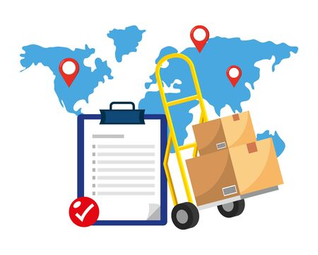 checklist and pushcart with boxes and map with location pointer vector illustration graphic design