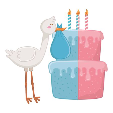 stork holding a clothbag with birthday cake and candle lit vector illustration graphic design Ilustrace