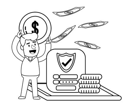 Digital banking services online tools currency deposit electronic transaction raining bills laptop screen password security black and white vector illustration graphic design