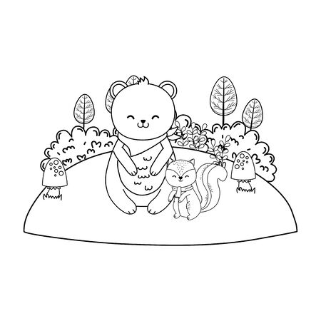 cute bear panda in the field woodland character vector illustration design Ilustracja