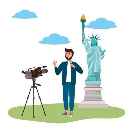 Broadcasting reportage design, News media communication journalism information and digital theme Vector illustration