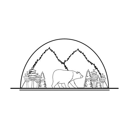 mountains with bear grizzly scene vector illustration design Ilustracja