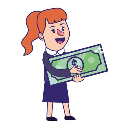 Businesswoman banking financial planning holding money bill currency vector illustration graphic design