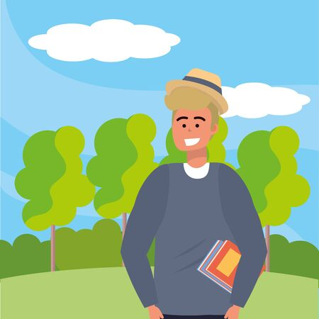 Millennial student blond man wearing posing and smiling happy nature background vector illustration graphic design