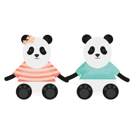 cute bears pandas couple childish characters vector illustration design