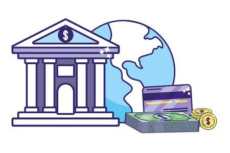 saving money finance business bank elements cartoon vector illustration graphic design