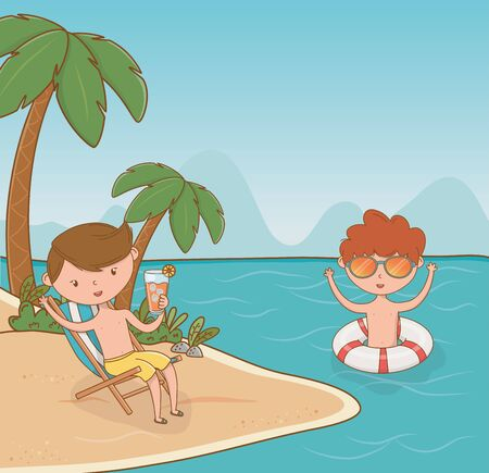 young boys on the beach scene vector illustration design Ilustrace