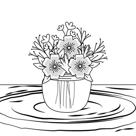 floral nature flowers mason jar plant pot over wooden table cartoon vector illustration graphic design 일러스트