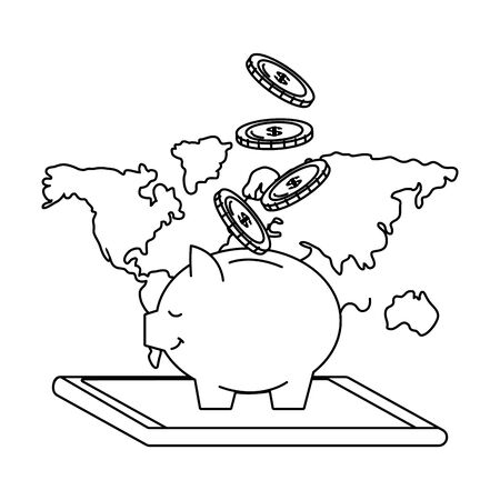 Digital banking services online tools worldwide raining coins smartphone savings black and white vector illustration graphic design