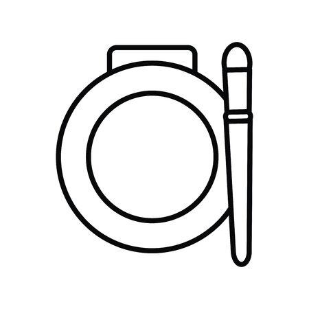 blush and brush make up drawing icon vector illustration design 일러스트