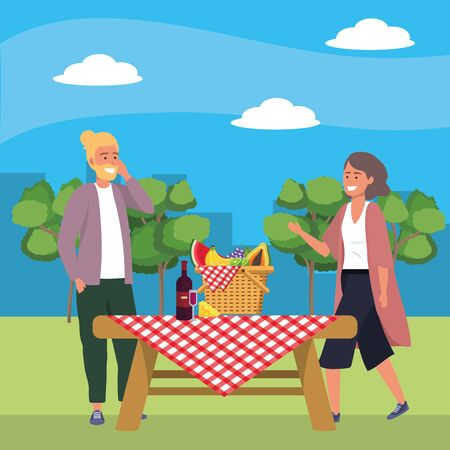 Millennial couple date picnic cloth background nature trees cityscape food cooking vest blond vector illustration graphic design