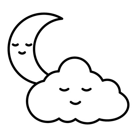 cute cloud with moon  characters