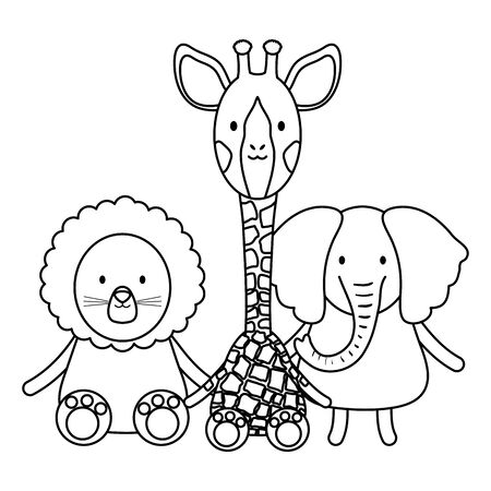 cute group animals childish characters vector illustration design Foto de archivo - 128798323