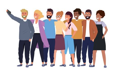 Millennial diverse group taking selfie