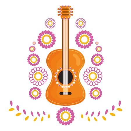 guitar instrument with floral decoration