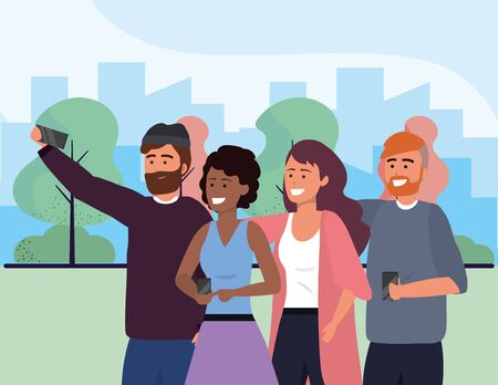 Millennial group using smartphone taking selfie posing together smiling happy sweater beard afro redhead outdoors park background cityscape vector illustration graphic design