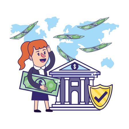 Businesswoman banking financial planning holding money bill security vector illustration graphic design Illusztráció